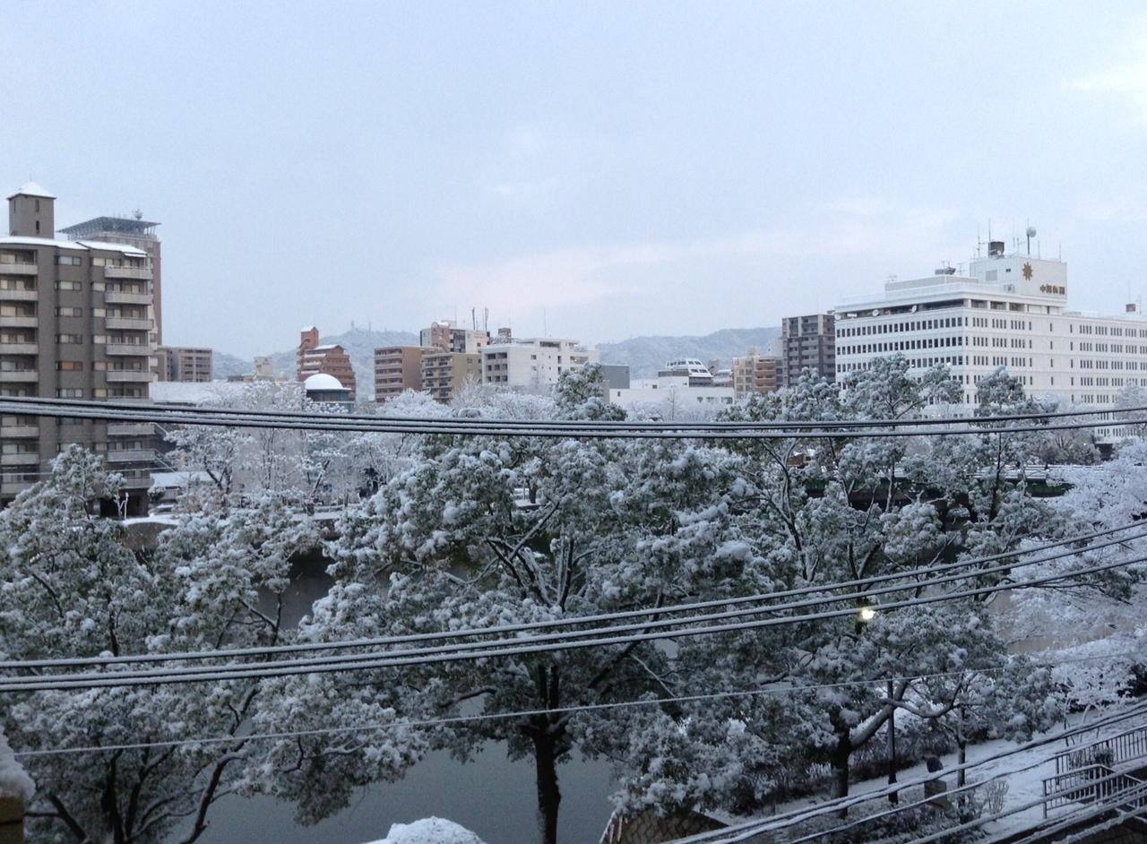 雪の広島市です。