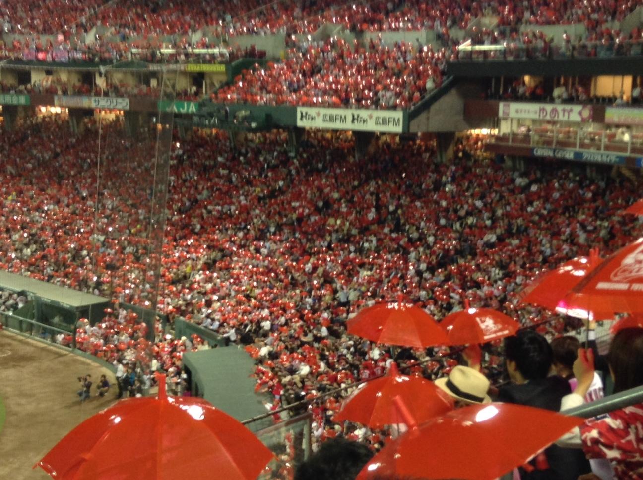 赤い傘をもらいました。